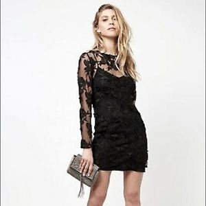NWT TOPSHOP BLACK APPLIQUÉ COCKTAIL DRESS US 8